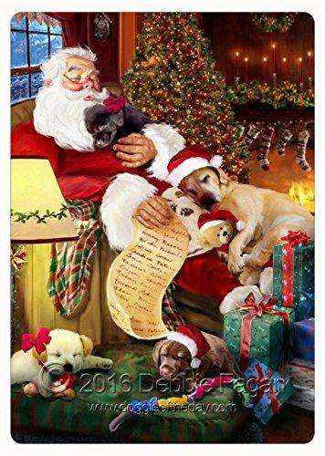 Happy Holidays with Santa Sleeping with Christmas Labrador Dogs Large Cutting Board