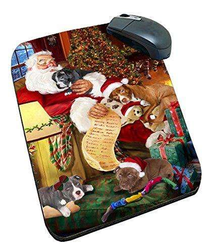 Happy Holidays with Santa Sleeping with Christmas Pitbull Dog Art Portrait Print Mousepad