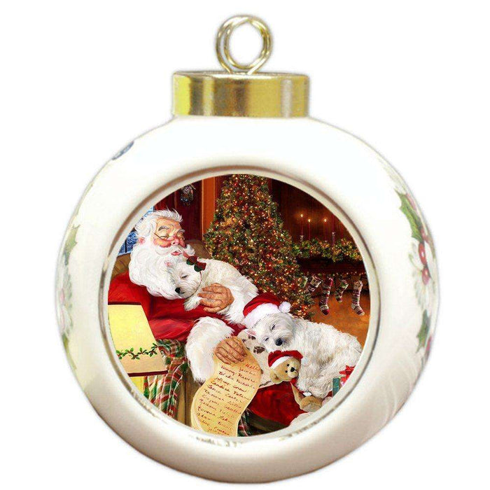 Happy Holidays with Santa Sleeping with Christmas Westies Dogs Holiday Ornament