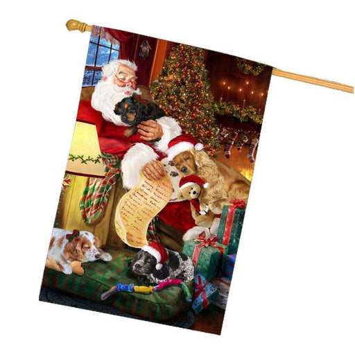 Happy Holidays with Santa Sleeping with Cocker Spaniel Dogs Christmas House Flag