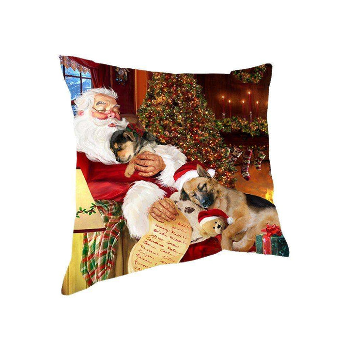 Happy Holidays with Santa Sleeping with German Shepherd Dogs Christmas Pillow