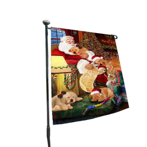Happy Holidays with Santa Sleeping with Golden Retriever Dogs Christmas Garden Flag
