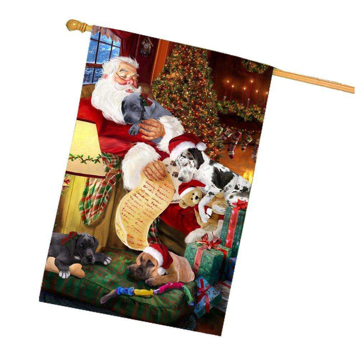 Happy Holidays with Santa Sleeping with Great Dane Dogs Christmas House Flag