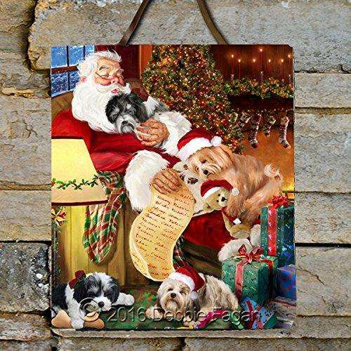 Happy Holidays with Santa Sleeping with Havanese Dogs Photo Slate