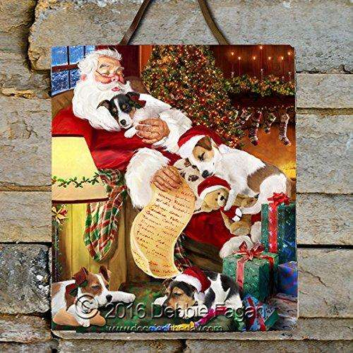Happy Holidays with Santa Sleeping with Jack Russell Dogs Photo Slate