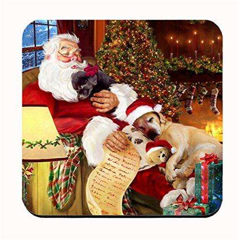 Happy Holidays with Santa Sleeping with Labrador Dogs Coasters (Set of 4)