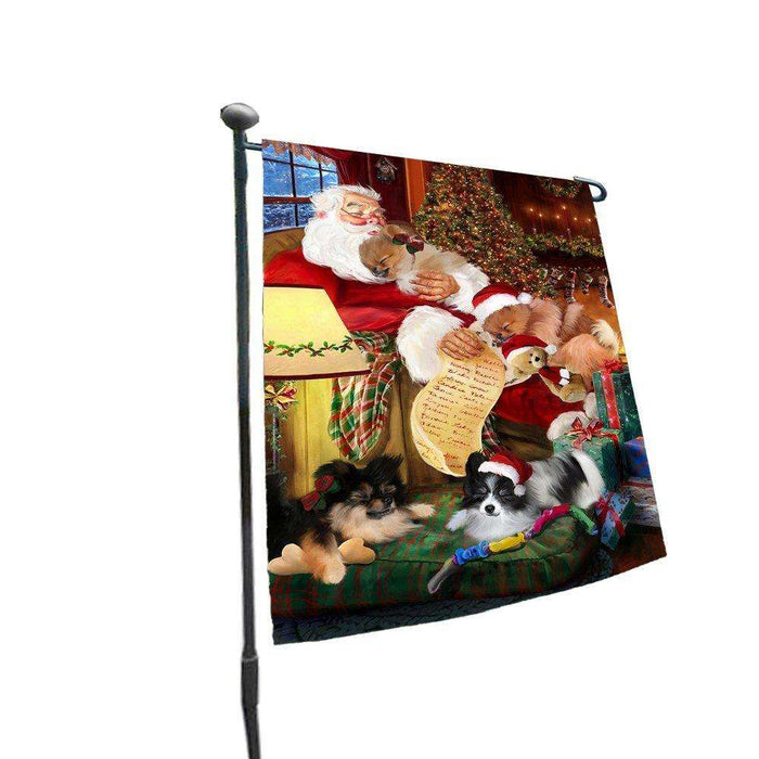 Happy Holidays with Santa Sleeping with Pomeranian Dogs Christmas Garden Flag