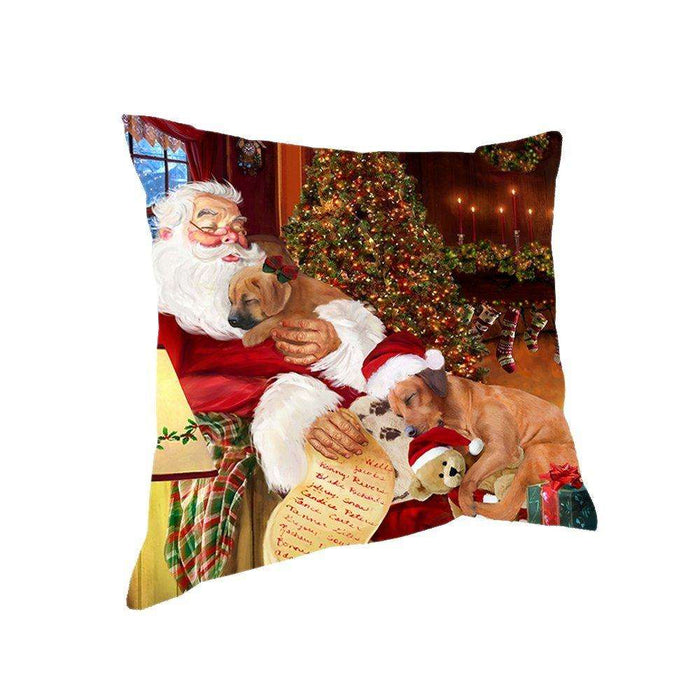 Happy Holidays with Santa Sleeping with Rhodesian Ridgeback Dogs Christmas Pillow