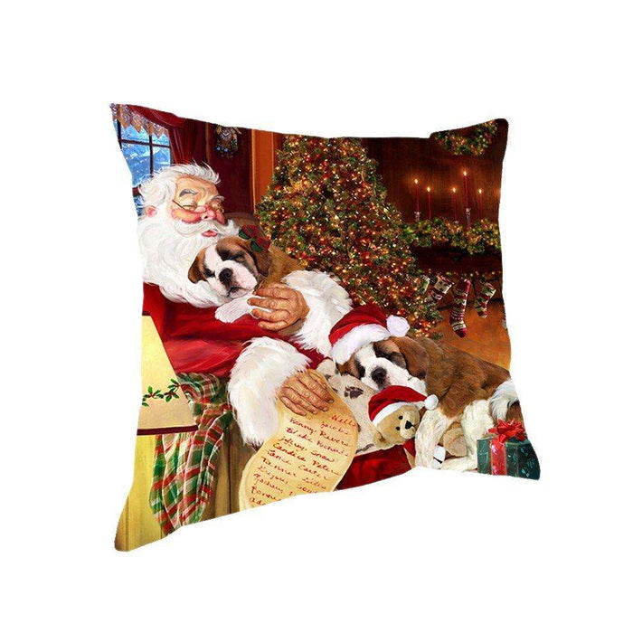 Happy Holidays with Santa Sleeping with Saint Bernard Dogs Christmas Pillow