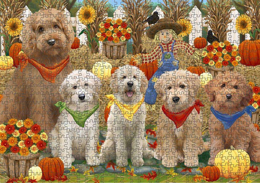Harvest Time Festival Day Goldendoodles Dog Puzzle with Photo Tin PUZL61041