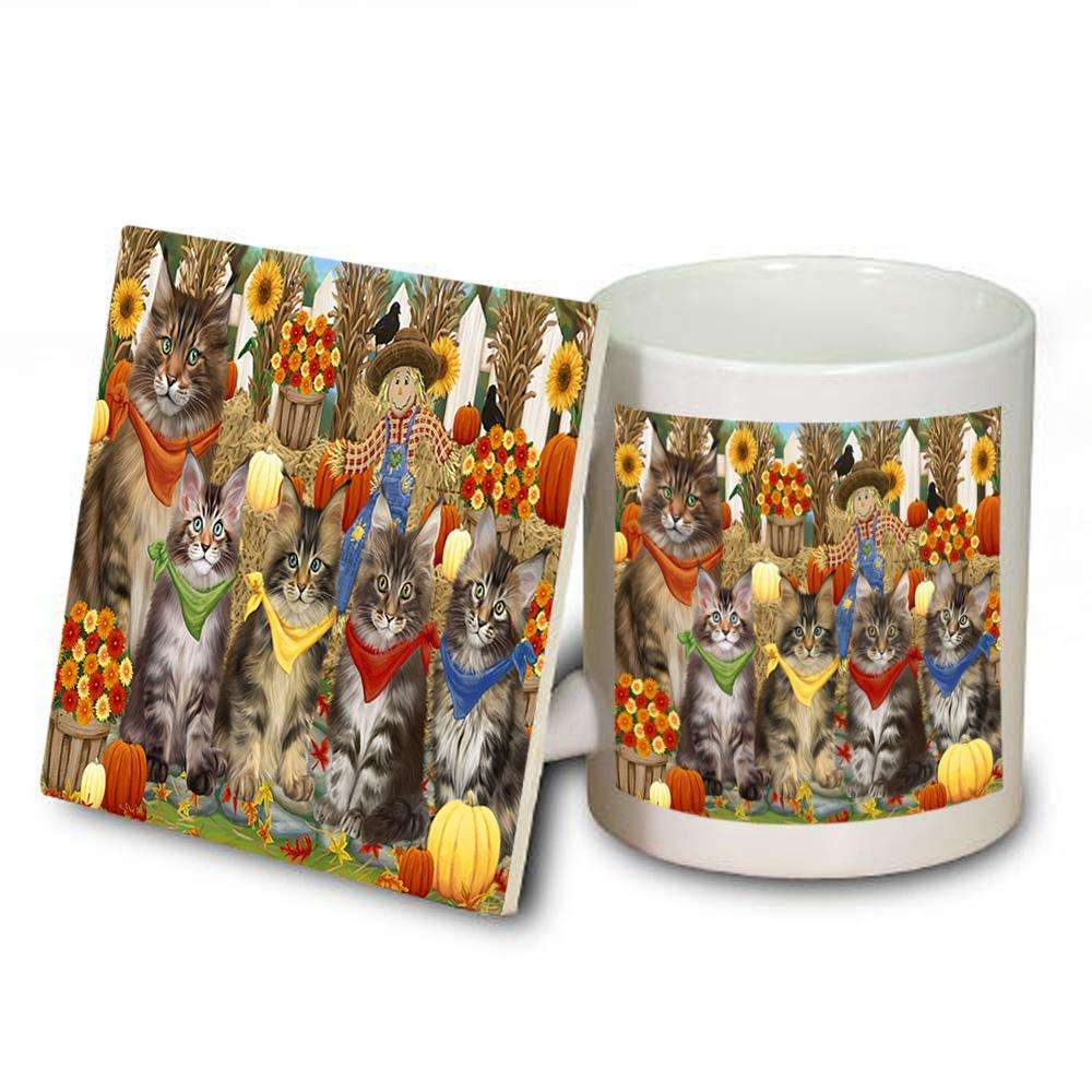 Harvest Time Festival Day Maine Coons Cat Mug and Coaster Set MUC52367