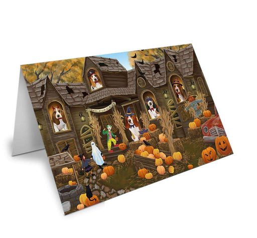 Haunted House Halloween Trick or Treat Basset Hounds Dog Note Card NCD62540