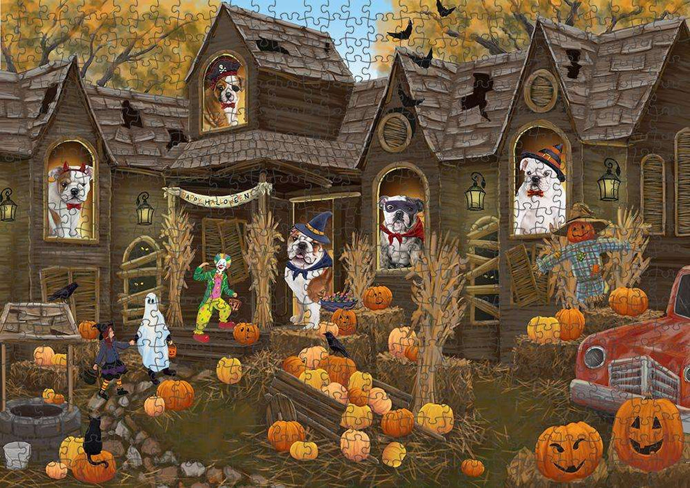 Haunted House Halloween Trick or Treat Bulldogs Puzzle with Photo Tin PUZL62986