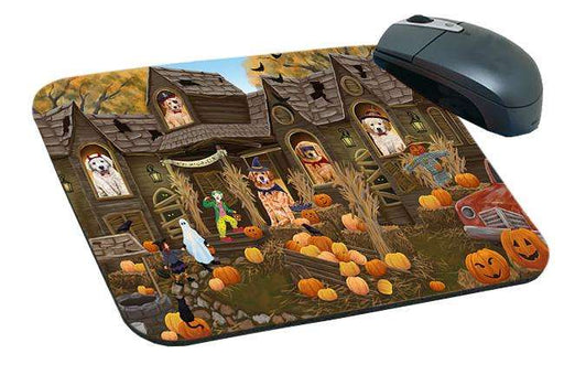 Haunted House Halloween Trick or Treat Golden Retrievers Dog Mousepad MPD52868