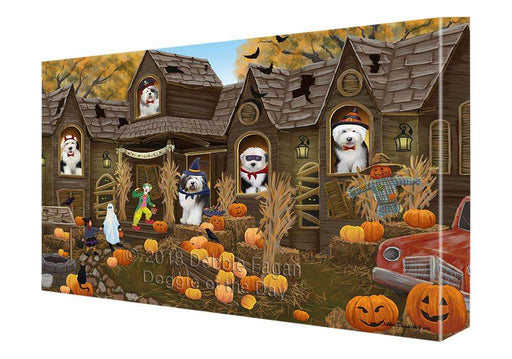 Haunted House Halloween Trick or Treat Old English Sheepdogs Canvas Print Wall Art Décor CVS93788