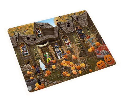 "Haunted House Halloween Trick Or Treat Schnauzers Dog Magnet Small (5.5"" x 4.25"") mag63129"
