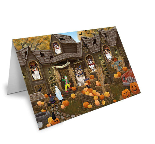 Haunted House Halloween Trick or Treat Shetland Sheepdogs Note Card NCD62723