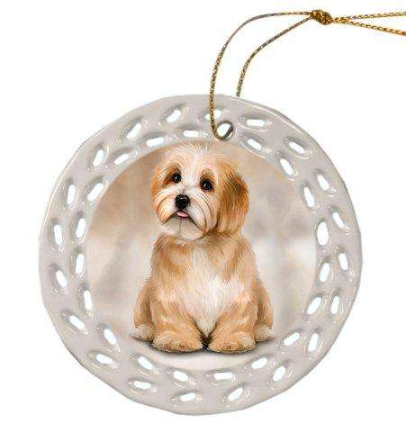 Havanese Dog Christmas Doily Ceramic Ornament