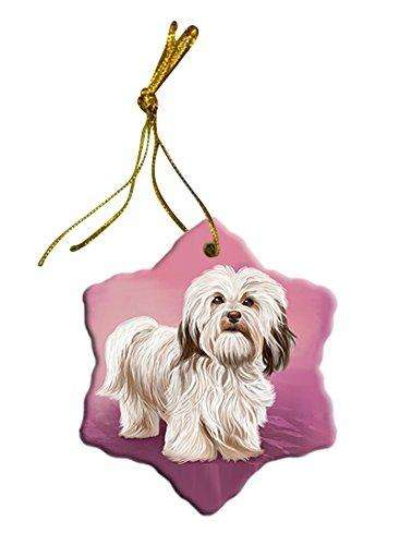 Havanese Dog Christmas Snowflake Ceramic Ornament