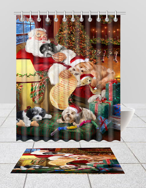 Santa Sleeping with Havanese Dogs  Bath Mat and Shower Curtain Combo