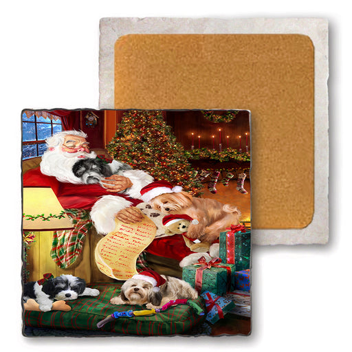 Set of 4 Natural Stone Marble Tile Coasters - Havaneses Dog and Puppies Sleeping with Santa MCST48106