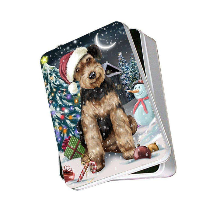 Have a Holly Jolly Airedale Dog Christmas Photo Storage Tin PTIN0070