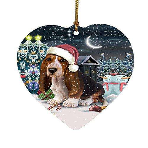 Have a Holly Jolly Basset Hound Dog Christmas Heart Ornament POR1905