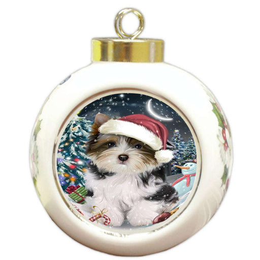 Have a Holly Jolly Biewer Terrier Dog Christmas  Round Ball Christmas Ornament RBPOR51632