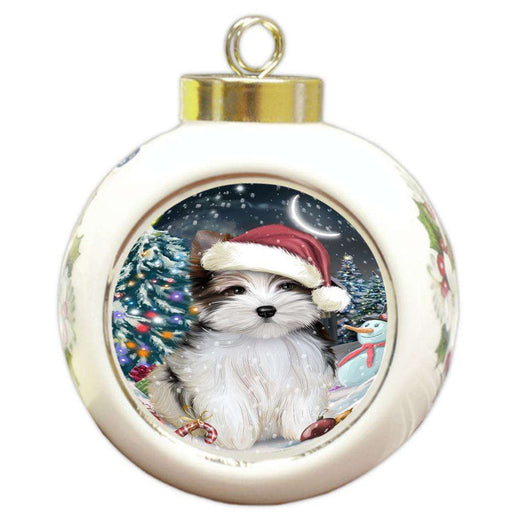 Have a Holly Jolly Biewer Terrier Dog Christmas  Round Ball Christmas Ornament RBPOR51633