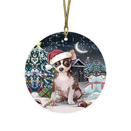 Have a Holly Jolly Chihuahua Dog Christmas Round Flat Ornament POR1283