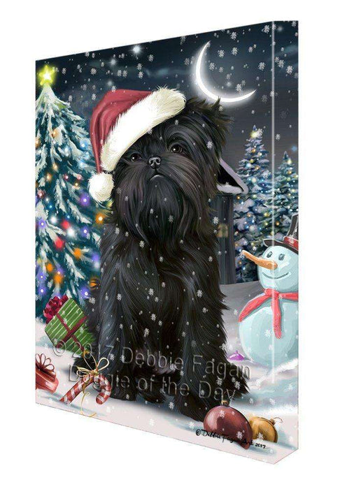 Have a Holly Jolly Christmas Affenpinschers Dog in Holiday Background Canvas Wall Art D130