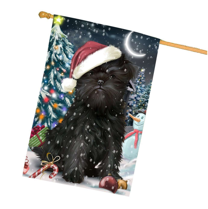 Have a Holly Jolly Christmas Affenpinschers Dog in Holiday Background House Flag