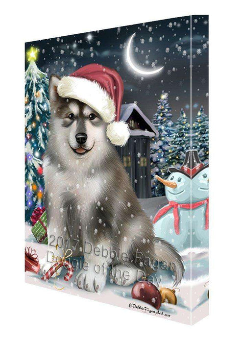 Have a Holly Jolly Christmas Alaskan Malamute Dog in Holiday Background Canvas Wall Art D055