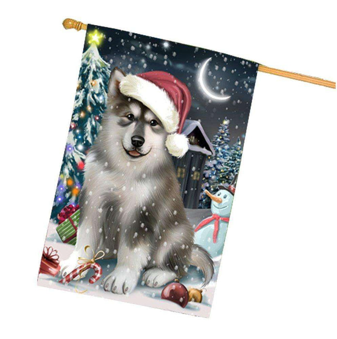 Have a Holly Jolly Christmas Alaskan Malamute Dog in Holiday Background House Flag