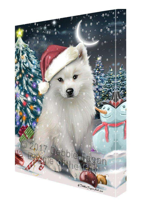 Have a Holly Jolly Christmas American Eskimo Dog in Holiday Background Canvas Wall Art D175