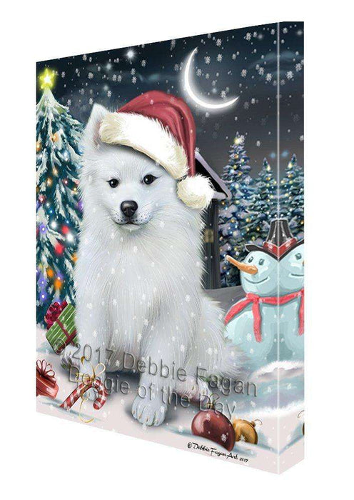 Have a Holly Jolly Christmas American Eskimo Dog in Holiday Background Canvas Wall Art D176