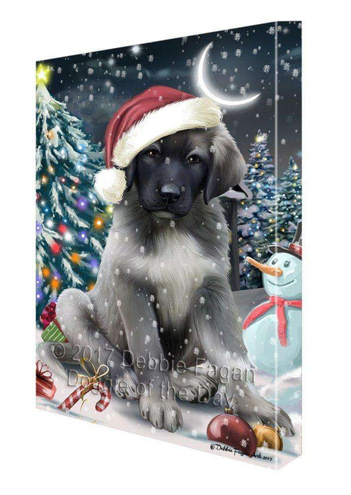 Have a Holly Jolly Christmas Anatolian Shepherd Dog in Holiday Background Canvas Wall Art D013