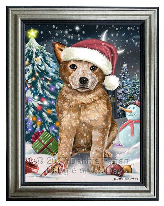 Have a Holly Jolly Christmas Australian Cattle Dog in Holiday Background Framed Canvas Print Wall Art D002