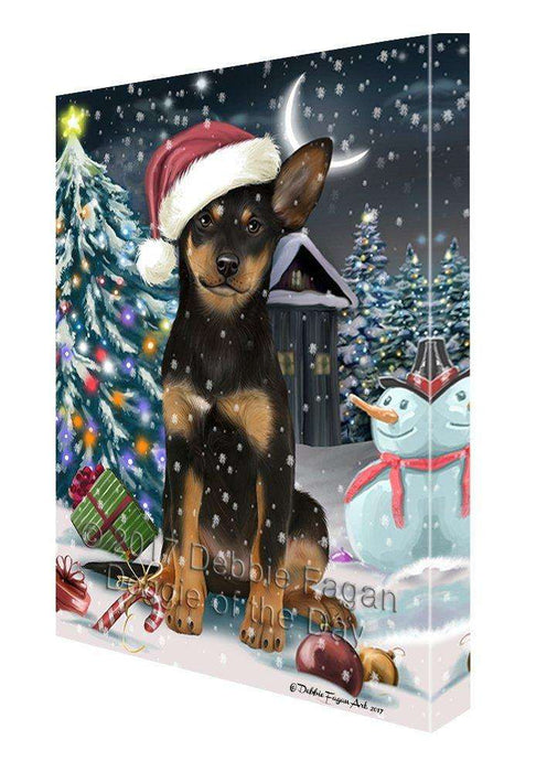 Have a Holly Jolly Christmas Australian Kelpie Dog in Holiday Background Canvas Wall Art D058