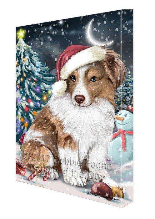 Have a Holly Jolly Christmas Australian Shepherd Dog in Holiday Background Canvas Wall Art D003