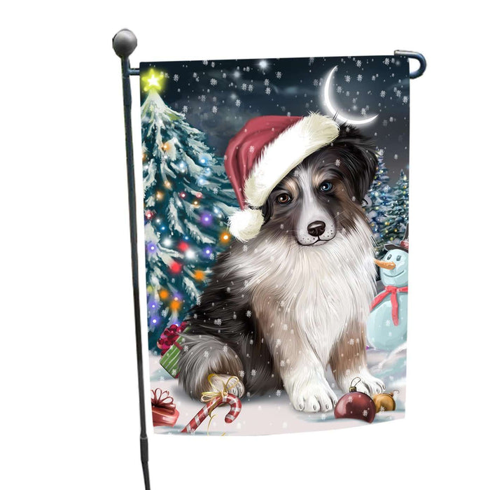 Have a Holly Jolly Christmas Australian Shepherd Dog in Holiday Background Garden Flag D002