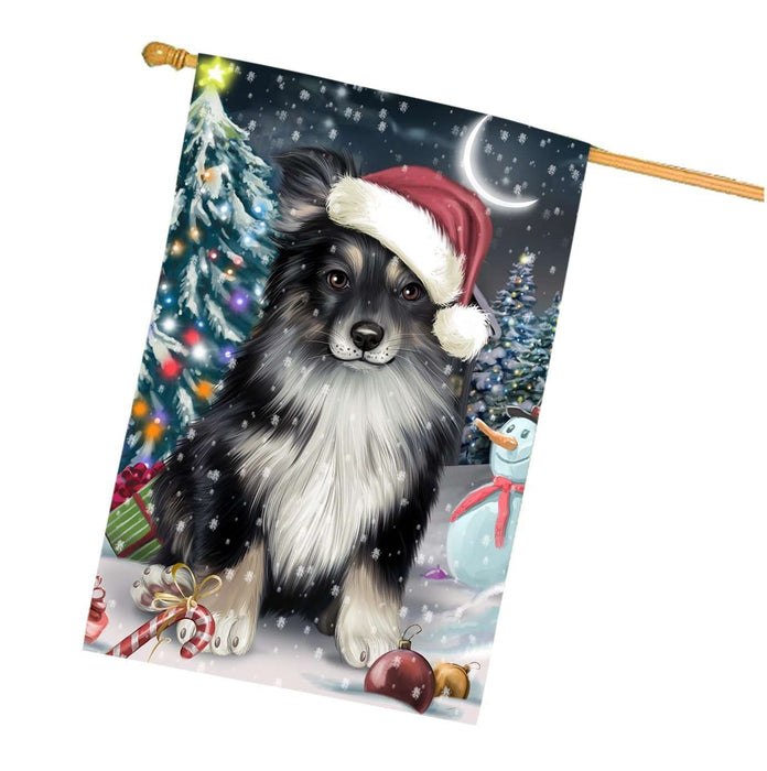 Have a Holly Jolly Christmas Australian Shepherd Dog in Holiday Background House Flag