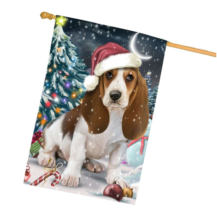 Have a Holly Jolly Christmas Basset Hound Dog in Holiday Background House Flag