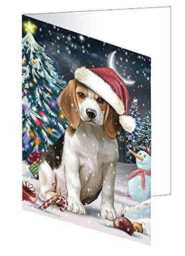 Have a Holly Jolly Christmas Beagle Dog in Holiday Background Greeting Card D210