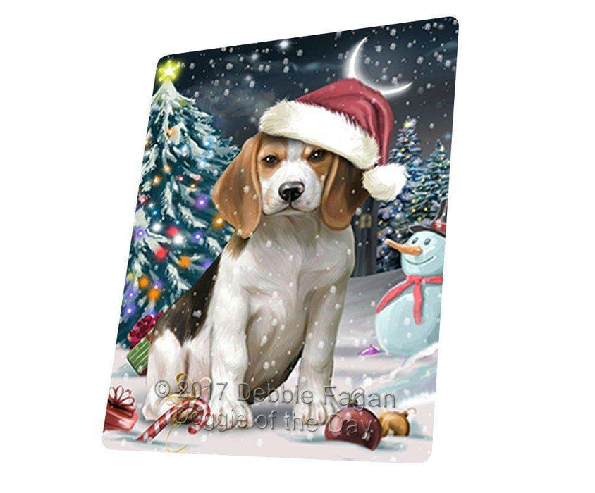 Have a Holly Jolly Christmas Beagle Dog in Holiday Background Large Refrigerator / Dishwasher Magnet D065