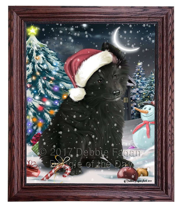 Have a Holly Jolly Christmas Belgian Shepherd Dog in Holiday Background Framed Canvas Print Wall Art D001