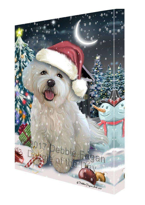 Have a Holly Jolly Christmas Bichon Dog in Holiday Background Canvas Wall Art D068