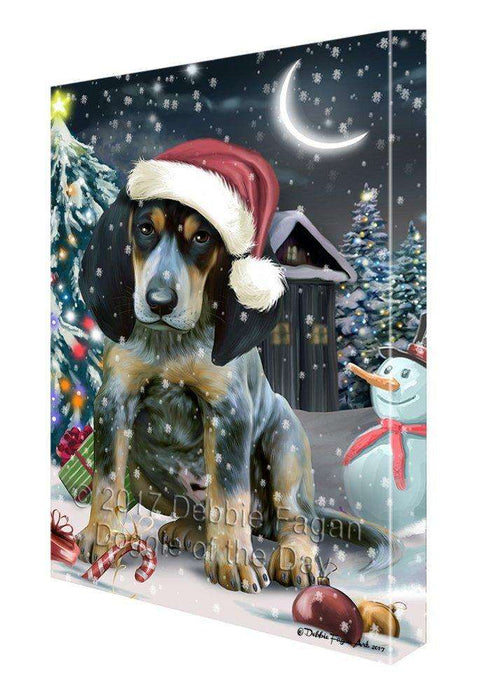 Have a Holly Jolly Christmas Bluetick Coonhound Dog in Holiday Background Canvas Wall Art D021