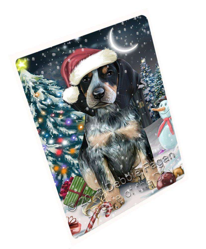 Have a Holly Jolly Christmas Bluetick Coonhound Dog in Holiday Background Large Refrigerator / Dishwasher Magnet D014