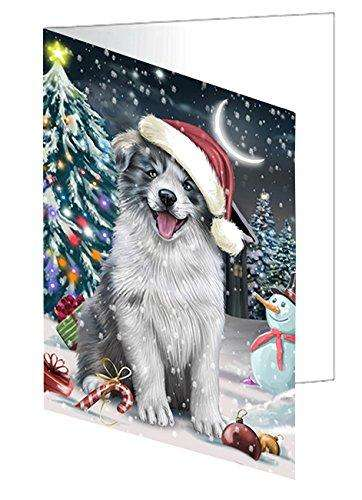 Have a Holly Jolly Christmas Border Collie Dog in Holiday Background Greeting Card D218